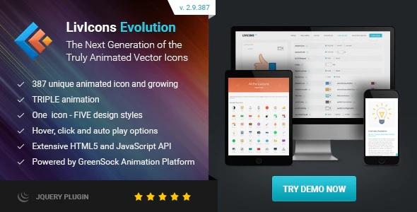 افزونه آیکون های زنده و متحرک وردپرس | LivIcons Evolution